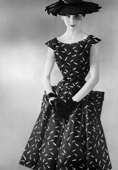 27e8829e1 1954 Cherry Nelms in lovely black and white broadcloth dress with its very  own petticoat by Larry Aldrich.