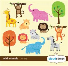 BUY 2 GET 1 FREE Wild Animals Clipart for personal and commercial use ( animal clip art ) vector gra Jungle Animals, Cute Animals, Wild Animals, Cute Animal Clipart, Cute Animal Drawings, Drawing Animals, Printable Animals, Digital Stamps, Teaching Art