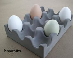 Concrete Egg Tray for table, counter, serving use or display - Kreteware Concrete