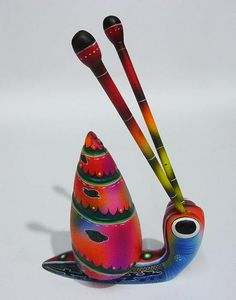 "Alebrije Wood mexican Carving ""Hasty Snail"""