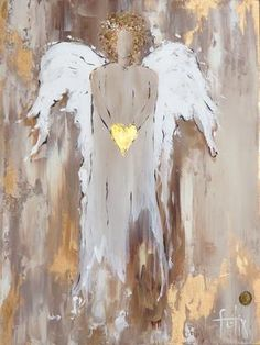 Gold Heart Angel by Anita Felix