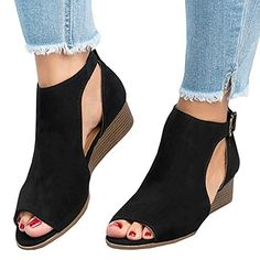 9025574e6d6027 Womens Low Heel Wedge sandals Open Peep Toe Side Cut Out Ankle Buckle  Cushioned Strap Summer Suede Shoes