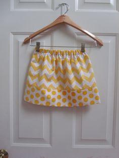 Chevron Skirt Girl Skirt Toddler Skirt Twirly Skirt Riley Blake Chevron Ombre Dot Fabric Fall Skirt Back to school skirt pink yellow aqua. $16.00, via Etsy.