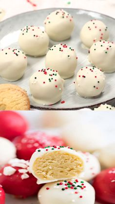 No-bake sugar cookie truffles made with only 4 ingredients! An easy and delicious treat for the holidays. No-bake sugar cookie truffles made with only 4 ingredients! An easy and delicious treat for the holidays. Christmas Snacks, Christmas Cooking, Holiday Treats, Christmas Recipes, Holiday Appetizers, Fun Holiday Desserts, Christmas Truffles, Christmas Cake Pops, Holiday Cakes