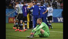 Argentina festeja.... 9 julio de 2014 ... Mundial Brasil 2014... Semifinal Argentina vs Holanda. Estadio Arena Corinthians. San Pablo.