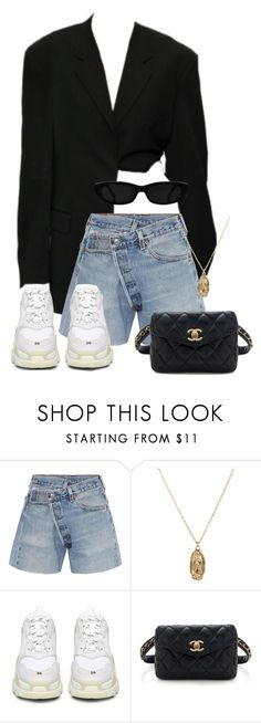 """#954"" by blendingtwostyles ❤ liked on Polyvore featuring R13, ASOS, Balenciaga and Chanel"