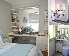 10 Cool Ideas to Add a Makeup Area to Your Bedroom - http://www.amazinginteriordesign.com/10-cool-ideas-to-add-a-makeup-area-to-your-bedroom/