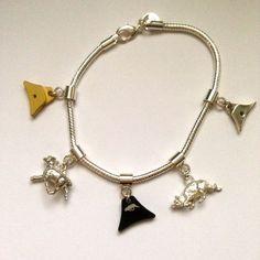 Silver Snake Chain bracelet & charms