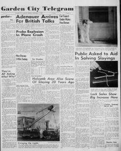 """Primera plana del diario """"Garden City Telegram"""" correspondiente a la edición del martes 17 de noviembre de 1959. En ella se observan dos fotografías sobre los asesinatos, una muestra a """"Teddy"""", el perro de la familia Clutter, junto a la puerta de la oficina de Herbert Clutter (como esperando su regreso), la otra presenta los cables del teléfono que fueron cortados por Perry Smith. La noticia reza """"Public asked to aid in solving slayings"""" (El publico pregunta para ayudar en los asesinatos)."""