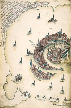 """Venice, as rendered by Ottoman admiral & cartographer Piri Reis in his """"Kitab-i Bahriye"""" (Bokok of the Sea), a book of portolan charts & sailing directions produced in the early century. via islamic arts Vintage Maps, Antique Maps, Venice Map, Venice Italy, In Loco, Map Globe, Old Maps, Historical Maps, Illuminated Manuscript"""