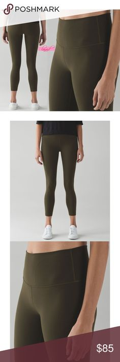 "Lululemon High Times Military Green Olive Fatigue NO OFFERS. PRICE IS FIRM AND NON-NEGOTIABLE. NO TRADES OR HOLDS. Lululemon ""High Times"" yoga pants in Military Green, size 2. High-waisted. 7/8 length. Made of four-way stretch, sweat-wicking, and breathable Full-On® Luon, a tight-knit version of Luon®. lululemon athletica Pants Skinny"