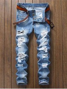 1b73f2d5 Slim Fit Distressed Jeans #MensJeans High Jeans, Men's Jeans, Ripped Jeans  Men,