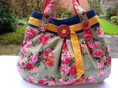 Handmade Denim and Floral cotton Handbag - belt - metal buckle - funky - pocket. £22.50