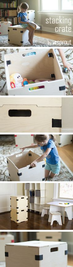 One of the most versatile storage products you'll ever find: the Caja Collection of modular stacking storage crates by Sprout