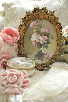 Ornate vintage frame and roses