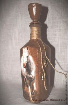 """Декоративная посуда ручной работы. Ярмарка Мастеров - ручная работа Бутылка """"Конь бегущий"""". Handmade."""