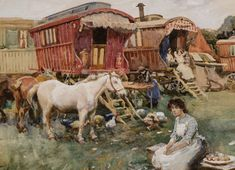 Munnings Painting Headlines Sporting Art Auction at Keeneland Gypsy Caravan, Gypsy Wagon, Alfred Munnings, Gypsy People, Leroy Neiman, Gypsy Life, Oil Portrait, Equine Art, Painted Signs