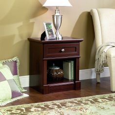 One Drawer Night Stand Cherry Wood Finish Bedroom Den Storage Bedtime Lamp Shelf