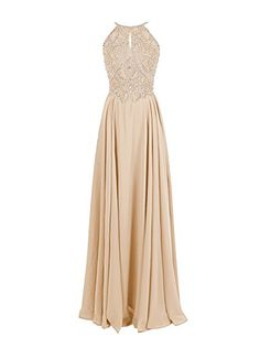 Dressystar Straps Sparkling Formal Gown Beading Prom Evening Dress Backless Size 6 Champagne