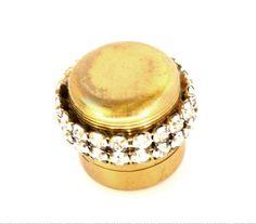 Rhinestone and Brass Pill Box Purse Accessory: 1856-5: Removed
