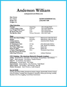 actor resume sample presents how you will make your professional or beginner actor resume the. Resume Example. Resume CV Cover Letter