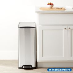 Designed to supply big style in small spaces, this rectangular step trash can is filled with convenient details. The durable foot pedal gives you hands-free operation, with a stay-open lid that closes silently and softly when you're ready. The brushed stainless steel finish resists fingerprints and smudges. While the narrow profile makes the most of floor space, this trash can still fits a tall kitchen trash bag for impressive capacity. Kitchen Sale, Kitchen Pantry, Small Space Organization, Trash Bag, Container Store, Brushed Stainless Steel, Floor Space, Organizing Your Home, Small Spaces