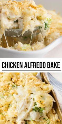 Cheesy Recipes, Easy Casserole Recipes, Easy Chicken Recipes, Easy Dinner Recipes, Dinner Ideas, Ham Casserole, Keto Chicken, Chicken Alfredo With Broccoli, Baked Noodle Recipes
