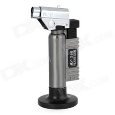 BS-260 1300'C Adjustable Butane Jet Torch Lighter w/ Stand - Silver + Grey. Model: BS-260 - Quantity: 1 - Color: Silver + Grey - Material: Aluminum alloy + plastic - Flame temperature: 1300'C - Burning time: 20~40 minutes (Not continuous) - Continuous burning time: 5 minutes - Flame range: 20mm~65mm blue flame adjustable (Room temperature 22'C) - Gas capacity: 6g (Safety) - Dual safety switch and burning mode locking design - Lighter fuel: Butane gas - Great for metal soldering and outdoor…