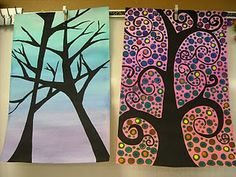 tree silhouettes with watercolor technique backgrounds
