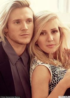 Coupled up: Ellie Goulding poses with boyfriend Dougie Poynter as she talks about dating a fellow musician in the new issue of Glamour US magazine