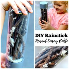 An upcylcled and naturally sourced DIY rainstick musical sensory bottle that will help children learn self-regulation skills. This rainstick calm down bottle is a musical instrument that is fun to watch and listen to. It makes the sound of pitter-patting rain when tipped from top to bottom. Discovery bottles are also great for no mess safe sensory play for kids. Babies, toddlers, and preschoolers can safely investigate small objects without the risk of choking.