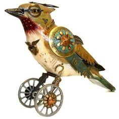 steampunk bird sculpture