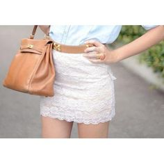 tucked in shirt, lace skirt.