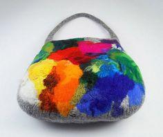Felted Bag Handbag Purse wild Felt Nunofelt Nuno felt Silk Silkyfelted rainbow multicolor fairy fantasy shoulder bag Fiber Art boho.