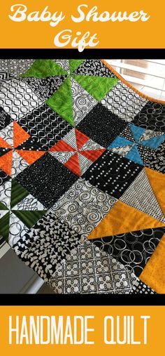 Modern Handmade Baby Quilt - Black and White Quilt- Baby Boy Quilt - Baby Girl Quilt - Handmade Patchwork Baby Quilt  On sale now at Etsy shop, buy small business, homemade item, years of quilting experience.