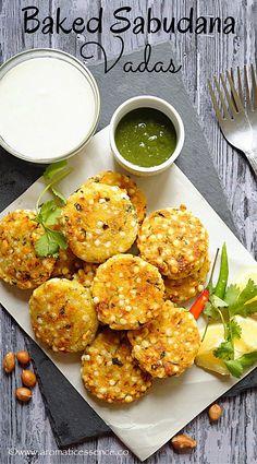 Baked sabudana vada (Tapioca fritters)