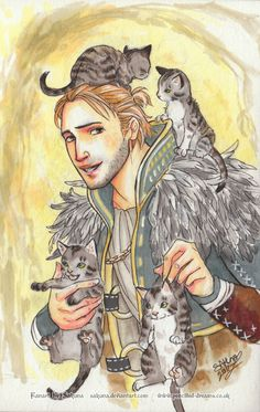 Anders from Dragon Age surrounded by tiny adorable kittens! Too cute!! #squishable  #cutengeeky