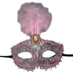 İşlemeli Tüylü Parti Maskesi Pembe Renk