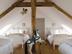 slightly obsessed with attic rooms - the boo and the boy: sharing a room Boy And Girl Shared Bedroom, Shared Rooms, Girl Room, Girls Bedroom, Bunk Rooms, Attic Bedrooms, Attic Spaces, Kid Spaces, Beautiful Bedrooms