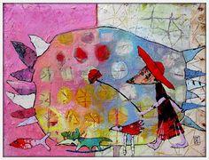 "Elke Trittel ""I wish,I wish..."" acrylics collage 24x29cm"