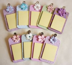 Image detail for -Mini Chipboard Clipboards Post It Notes with Clips - Make it Small and .Image detail for -Mini Chipboard Clipboards Post It Notes with Clips - uses a different type of binder clip.No flowers - but like the embossed paperIdeas for yo