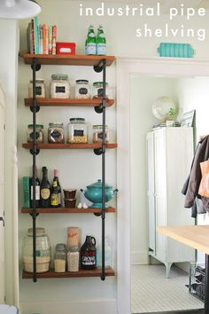 Farmhouse Kitchen Design Ideas, Pictures, Remodel and Decor Industrial Pipe Shelves, Industrial Farmhouse, Industrial Style, Ideas Hogar, Creation Deco, Pipe Furniture, Open Shelving, Diy Shelving, Pantry Shelving