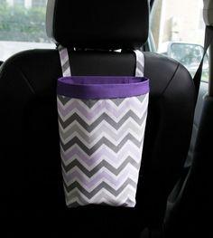 CAR TRASH BAG Gray and Purple Chevron, Car Litter Bag, Car Accessories, Car Organizer on Etsy, $26.00
