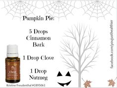 facebook.com/youjusthealthier Clove oil pairs well with the free oils - cinnamon bark & nutmeg - that you will get with a 190PV order as part of the YL October Promo (see pinned post for details). Use them to create this awesome pumpkin pie diffuser blend!   Remember that you can get the YL Promo of free oils twice in one month! Once with a qualifying regular order and once with an Essential Rewards order.