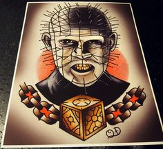 Pinhead Tattoo Art Print by ParlorTattooPrints on Etsy, $28.00