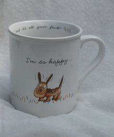 I'm so happy...  and it's all your fault Vintage Hallmark Rim Shots 1980s Mug, with Dog