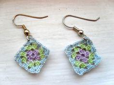 Tiny granny square crocheted earrings