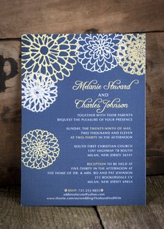 Navy and Yellow Floral Wedding Invitations