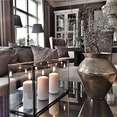 Luxurious home decor ideas that will transform your living space in a second. Living Room Grey, Home Living Room, Apartment Living, Living Room Designs, Living Room Decor, Living Room Candles, Living Room Inspiration, Home Decor Inspiration, Decor Ideas