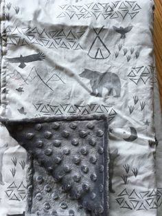 Woodland moose bear gray Baby Blanket, triangle teepee tp Blanket, Woodland Blanket, Woodland Nursery, Gender Neutral Baby Shower Gift